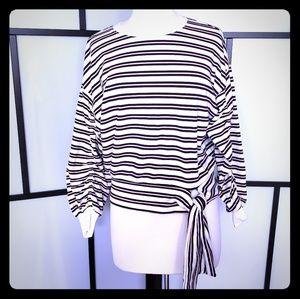 Kensie jeans shirred sleeve striped sweatshirt